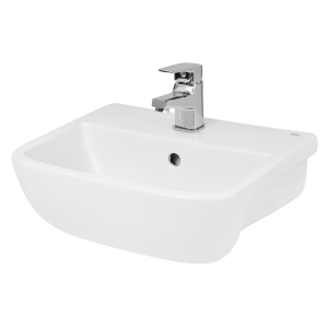 Compact Rectangular Semi-Recessed 420mm Basin with 1 Tap Hole