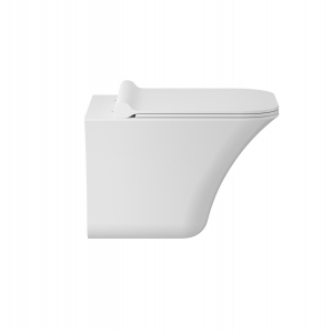 Rimless 350mm (w) x 355mm (h) x 490mm (d) Wall Hung Toilet Pan with Quick Release Soft Close Toilet Seat