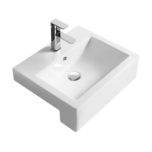 Square Semi Recessed 530mm Basin with 1 Tap Hole