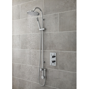 """""""Destiny"""" Round Chrome Shower Column with Concealed Outlet Elbow & Hand Shower"""