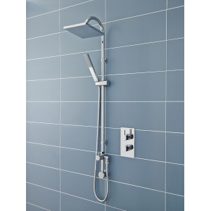 """""""Worth"""" Square Chrome Shower Column with Concealed Outlet Elbow & Hand Shower"""