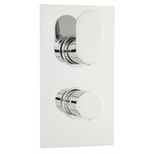 Reign Twin Concealed Thermostatic Valve Rectangular Plate