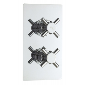 Kristal Twin Concealed Thermostatic Valve Rectangular Plate