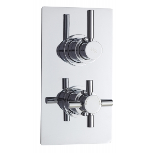 Tec Pura Twin Concealed Thermostatic Valve Rectangular Plate