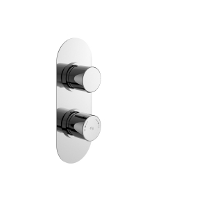 Chrome Round Twin Concealed Thermostatic Shower Valve