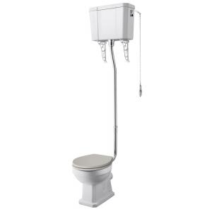 Comfort Height Toilet Pan , High Level Cistern & Flush Pipe Kit