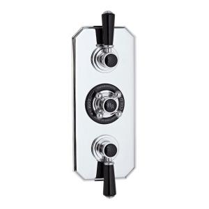 Topaz Black Triple Concealed Shower Valve with Diverter
