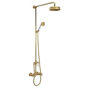 Brushed Brass Traditional Thermostatic Shower Valve & Kit