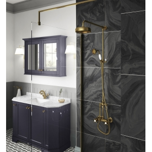 Traditional Brushed Brass Thermostatic Shower Valve, Rigid Riser Kit With Diverter, Rainfall Shower Head & Hand Shower