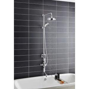 """Chrome """"Topaz"""" Triple Exposed Shower Column, Valve, Riser Kit, Rainfall Shower Head, Hand Shower & Spout"""