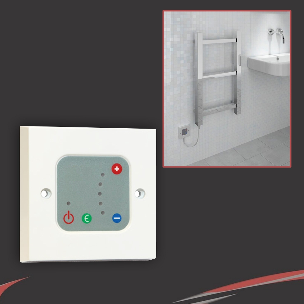 Electric bathroom towel radiators - White Thermostatic Wall Controller For Electric Towel Rails Or Radiators