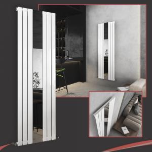 Corwen White Flat Panel Vertical Mirror Radiator