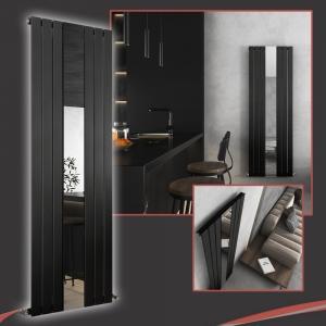 Corwen Black Flat Panel Vertical Mirror Radiator