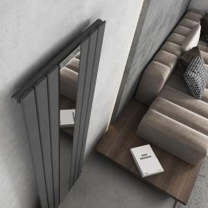 Corwen Anthracite Flat Panel Vertical Mirror Radiator