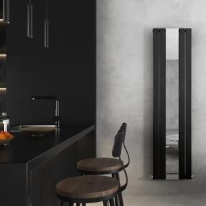 "458mm (w) x 1800mm (h) ""Corwen"" Black Flat Panel Vertical Mirror Radiator (4 Sections)"