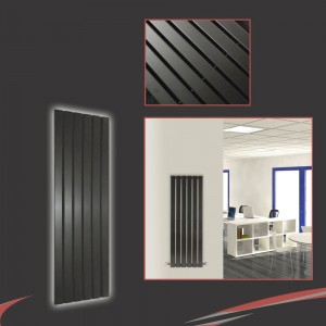 "440mm (w) x 1250mm (h) ""Corwen"" Black Flat Panel Vertical Radiator (6 Sections)"