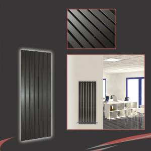 "516mm (w) x 1250mm (h) ""Corwen"" Black Flat Panel Vertical Radiator (7 Sections)"