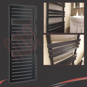 "500mm (w) x 1200mm (h) ""Castell"" Black Heated Towel Rail"