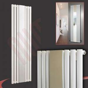 "499mm (w) x 1800mm (h) ""Brecon"" White Oval Tube Vertical Mirror Radiator (6 Sections)"