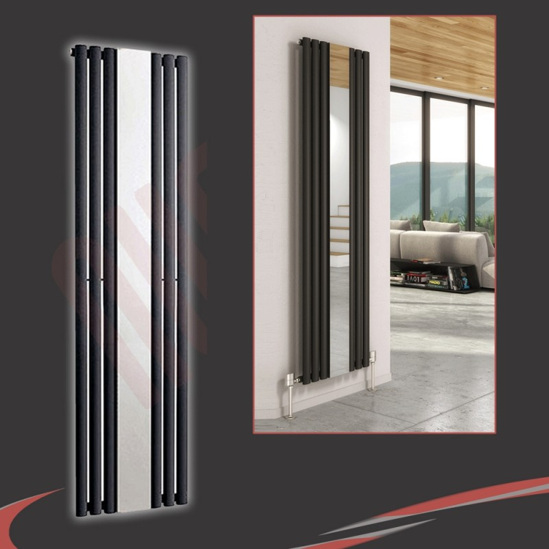 499mm (w) x 1800mm (h) Brecon Black Mirror Radiator