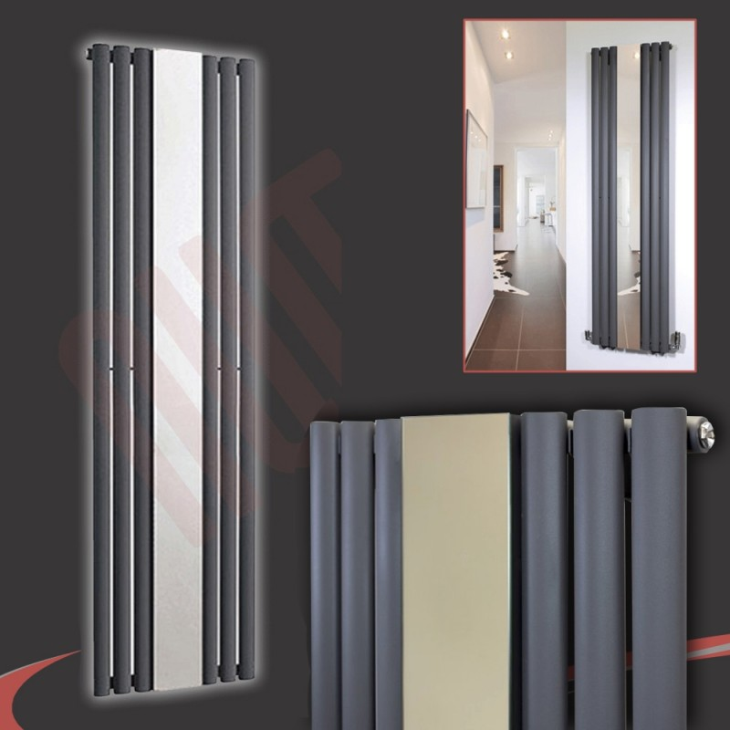499mm (w) x 1800mm (h) Brecon Anthracite Mirror Radiator