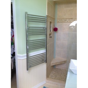 600mm (w) x 1200mm (h) Electric Straight Chrome Towel Rail (Single Heat or Thermostatic Option)