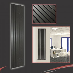 "440mm (w) x 1850mm (h) ""Corwen"" Black Flat Panel Vertical Radiator (6 Sections)"