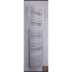 500mm (w)  x 1600mm (h) Electric Curved Chrome Towel Rail (Single Heat or Thermostatic Option)