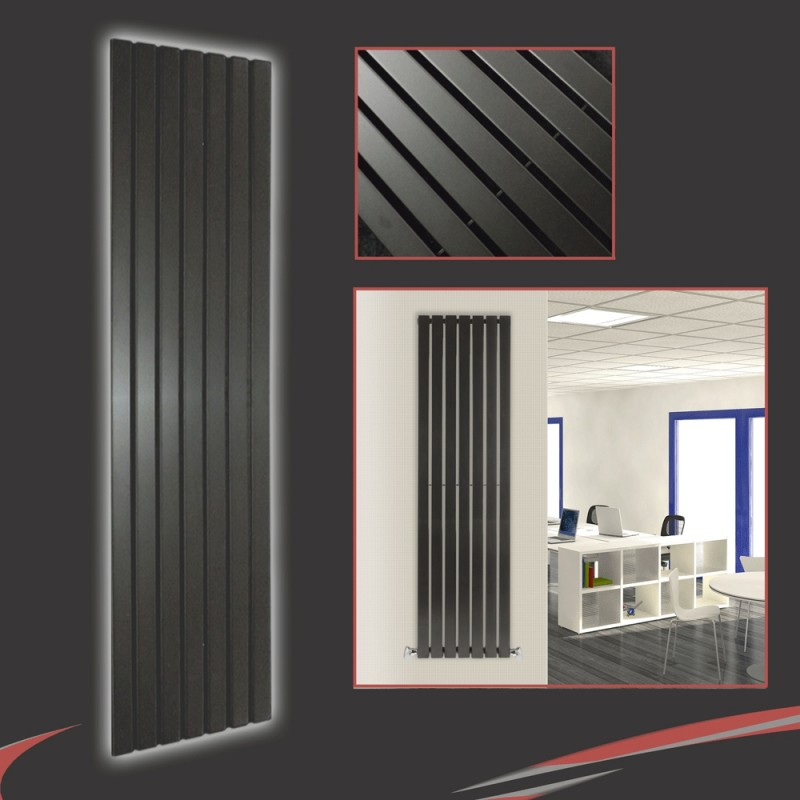 516mm x 1850mm Corwen Black Vertical Radiator