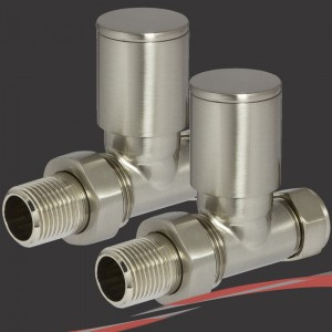 Straight Brushed Nickel Valves for Radiators & Towel Rails (Pair)
