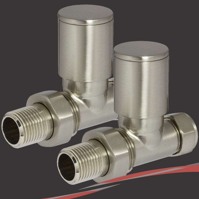 Straight Brushed Nickel Valves for Radiators & Towel Rails (Pair)