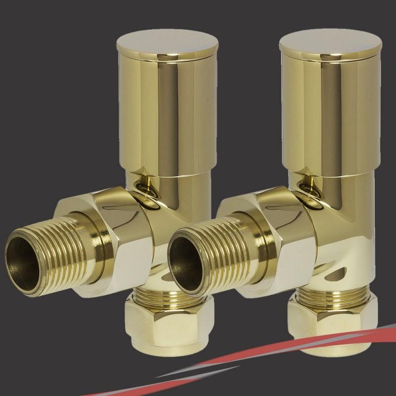 Angled Bright Gold Valves for Radiators & Towel Rails (Pair)