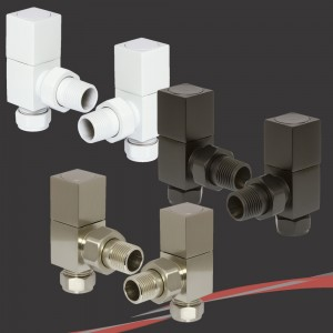 "White, Black & Brushed Nickel Square ""Cubic"" Valves for Radiators & Towel Rails (Pair of Angled or Straight)"