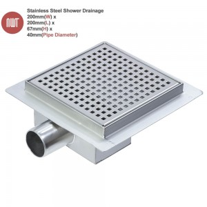 "200mm Stainless Steel ""Square"" Wetroom Drainage System"