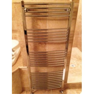 500mm (w)  x 1400mm (h) Curved Chrome Towel Rail