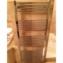600mm (w) x 1400mm (h) Electric Curved Chrome Towel Rail (Single Heat or Thermostatic Option)