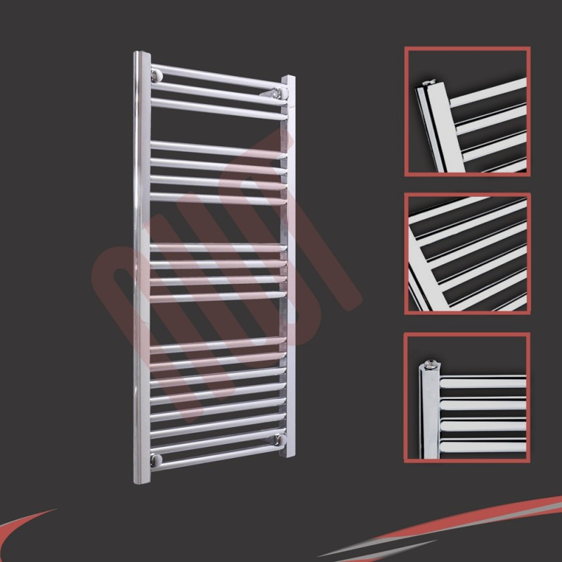500mm x 1000mm Straight Chrome Towel Rail