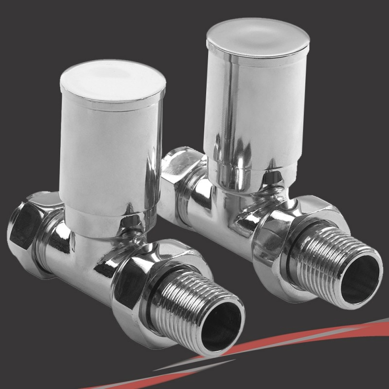 Straight Chrome Valves for Radiators & Towel Rails (Pair)