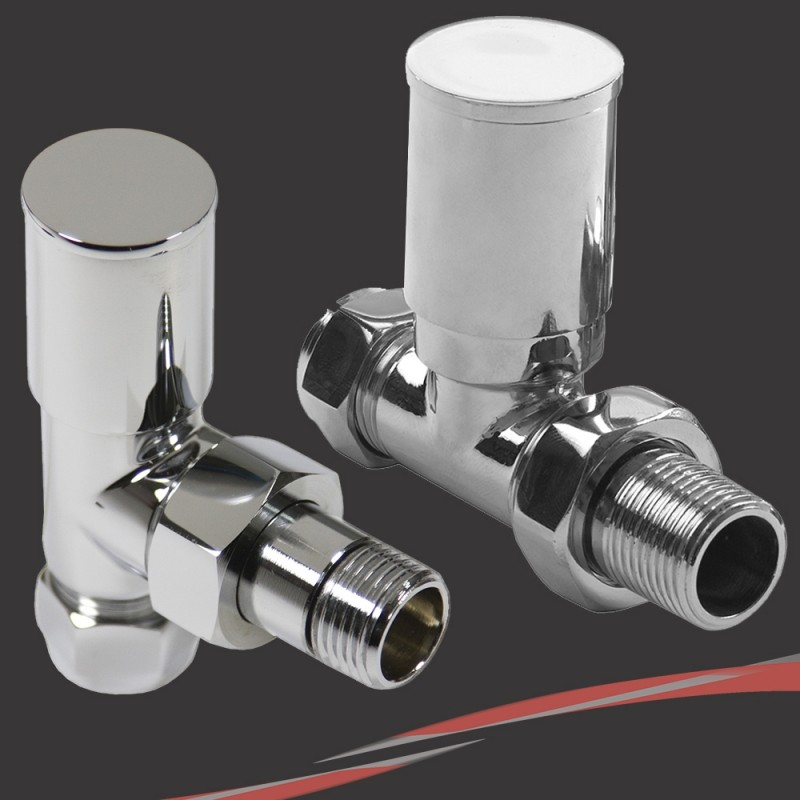 Mixed Chrome Valves (Pair) for Radiators & Towel Rails - 1 Angled