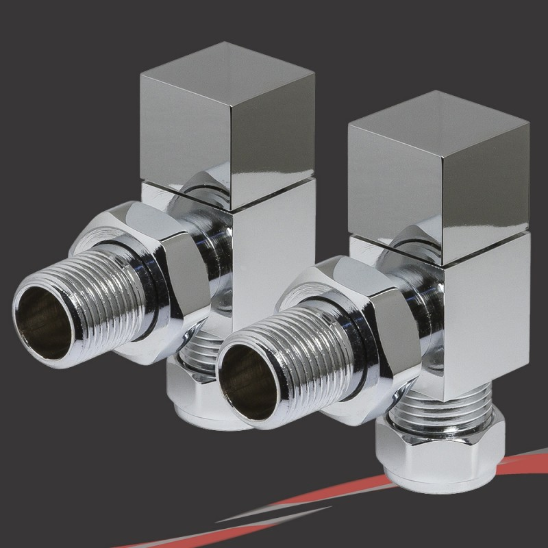 Angled Chrome Square Valves for Radiators & Towel Rails (Pair)