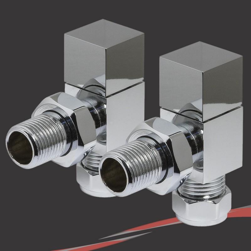 Angled Chrome Square Valves for Radiators & Towel Rails (Pair)