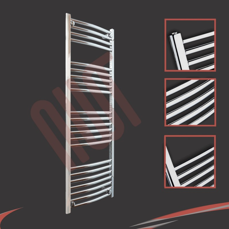 400mm x 1200mm Curved Chrome Towel Rail