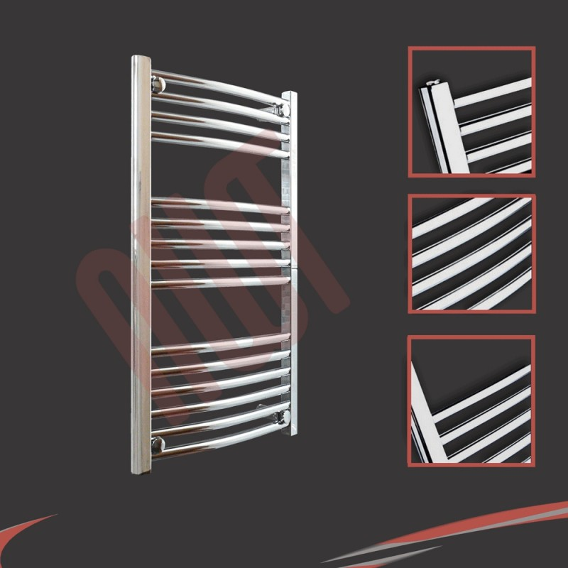 500mm x 800mm Curved Chrome Towel Rail