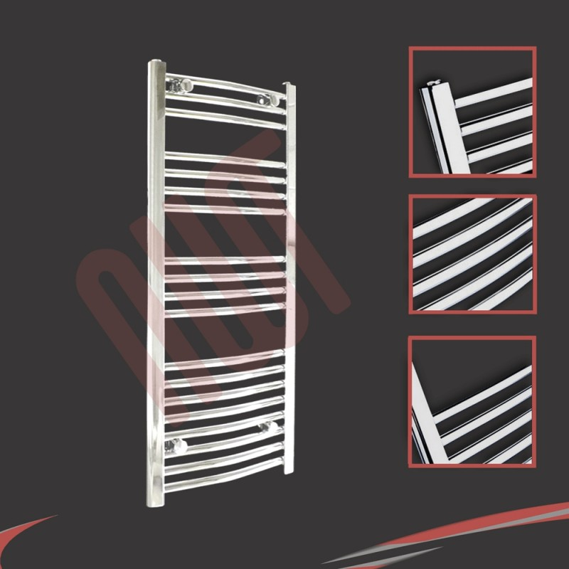 500mm x 1000mm Curved Chrome Towel Rail