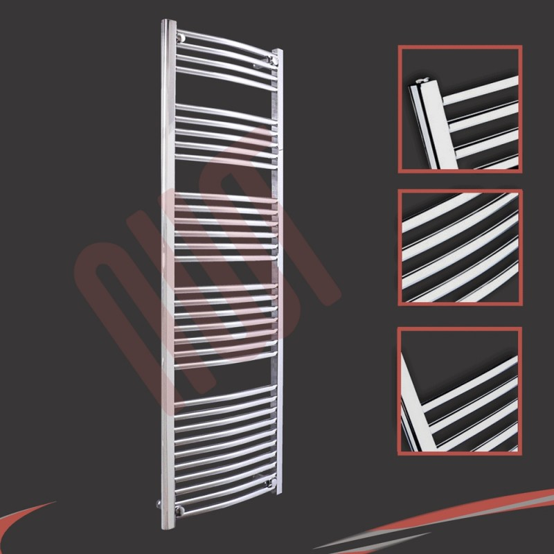 500mm x 1600mm Curved Chrome Towel Rail