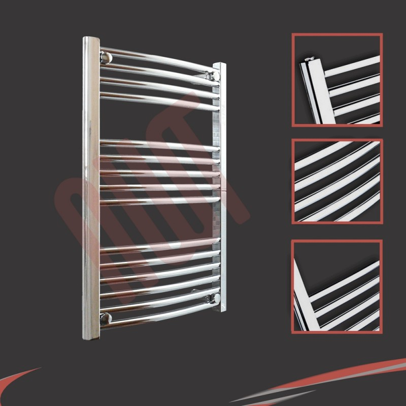 600mm x 800mm Curved Chrome Towel Rail