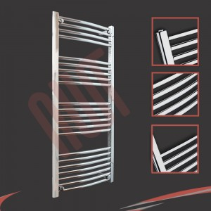 600mm  x 1200mm Curved Chrome Towel Rail