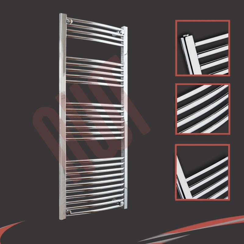 600mm x 1400mm Curved Chrome Towel Rail