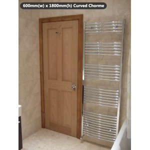 600mm (w) x 1800mm (h) Electric Curved Chrome Towel Rail (Single Heat or Thermostatic Option)
