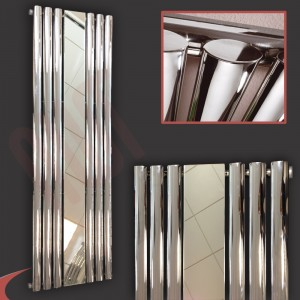 "499mm (w) x 1800mm (h) ""Brecon"" Chrome Oval Tube Vertical Mirror Radiator (6 Sections)"